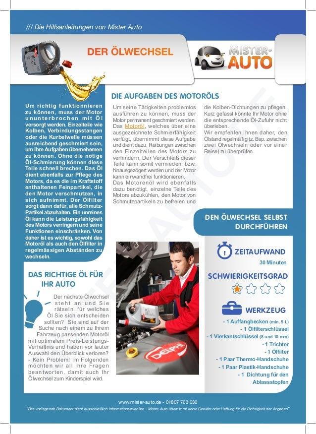 """/// Die Hilfsanleitungen von Mister Auto www.mister-auto.de - 01807 703 030 """"Das vorliegende Dokument dient ausschließlich..."""