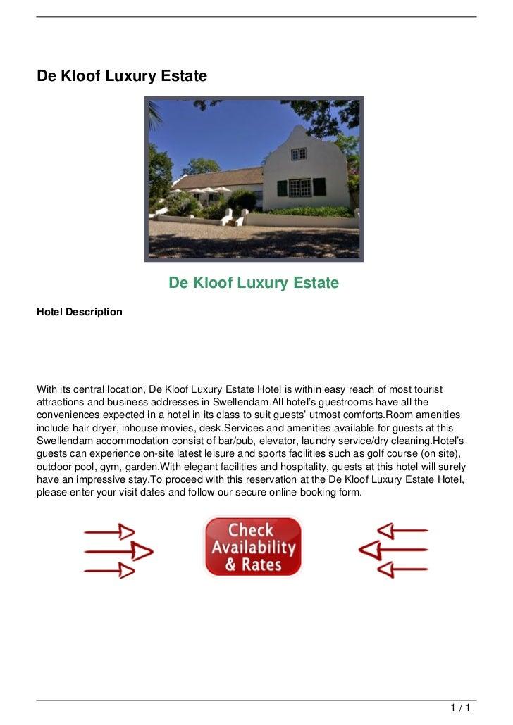 De Kloof Luxury Estate                                                                 De Kloof Luxury Estate             ...