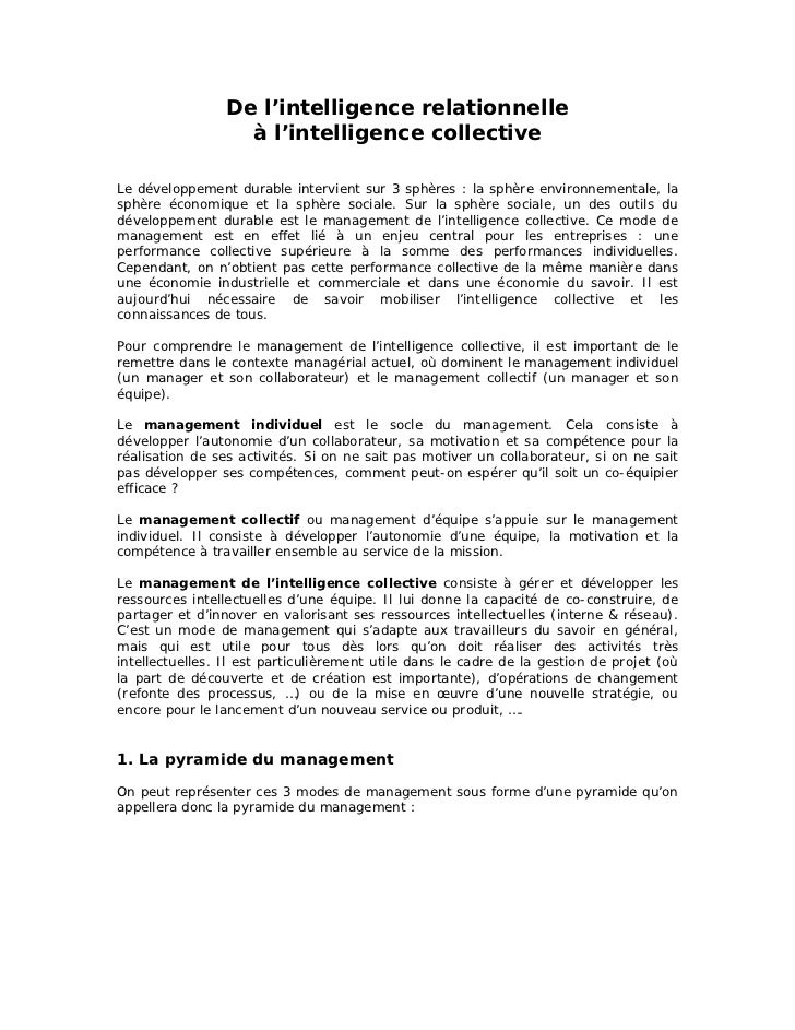 De l'intelligence relationnelle                   à l'intelligence collectiveLe développement durable intervient sur 3 sph...