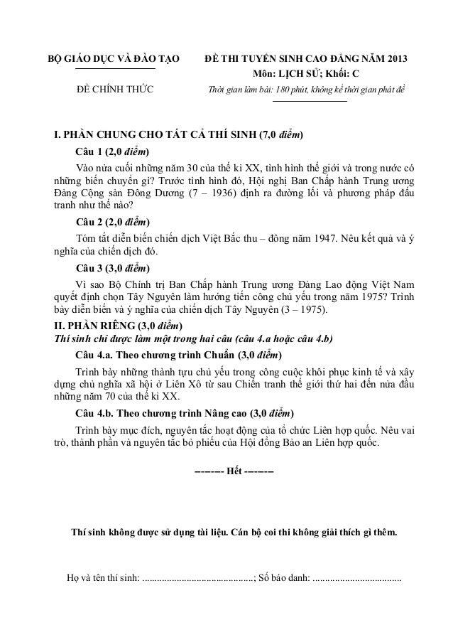 BỘ GIÁO DỤC VÀ ĐÀO TẠO ĐỀ CHÍNH THỨC ĐỀ THI TUYỂN SINH CAO ĐẲNG NĂM 2013 Môn: LỊCH SỬ; Khối: C Thời gian làm bài: 180 phút...