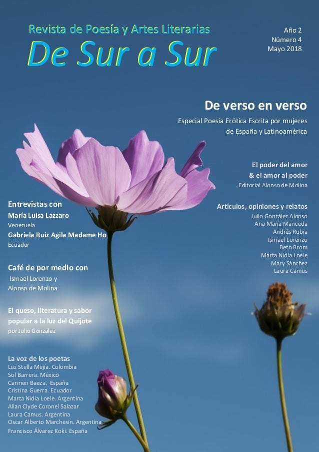 Página 1 de 130 De Sur a Sur Revista de Poesía y Artes LiterariasRevista de Poesía y Artes Literarias De Sur a Sur Año 2 N...