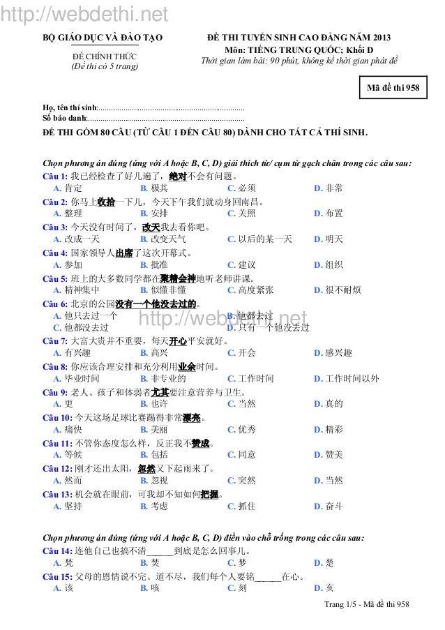 http://webdethi.net http://webdethi.net Trang 1/5 - Mã đề thi 958 BỘ GIÁO DỤC VÀ ĐÀO TẠO ĐỀ CHÍNH THỨC (Đề thi có 5 trang)...