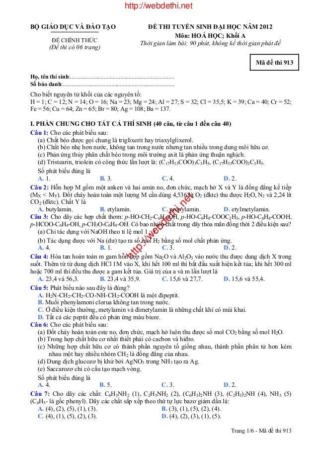 http://webdethi.nethttp://webdethi.netBỘ GIÁO DỤC VÀ ĐÀO TẠOĐỀ CHÍNH THỨC(Đề thi có 06 trang)ĐỀ THI TUYỂN SINH ĐẠI HỌC NĂM...