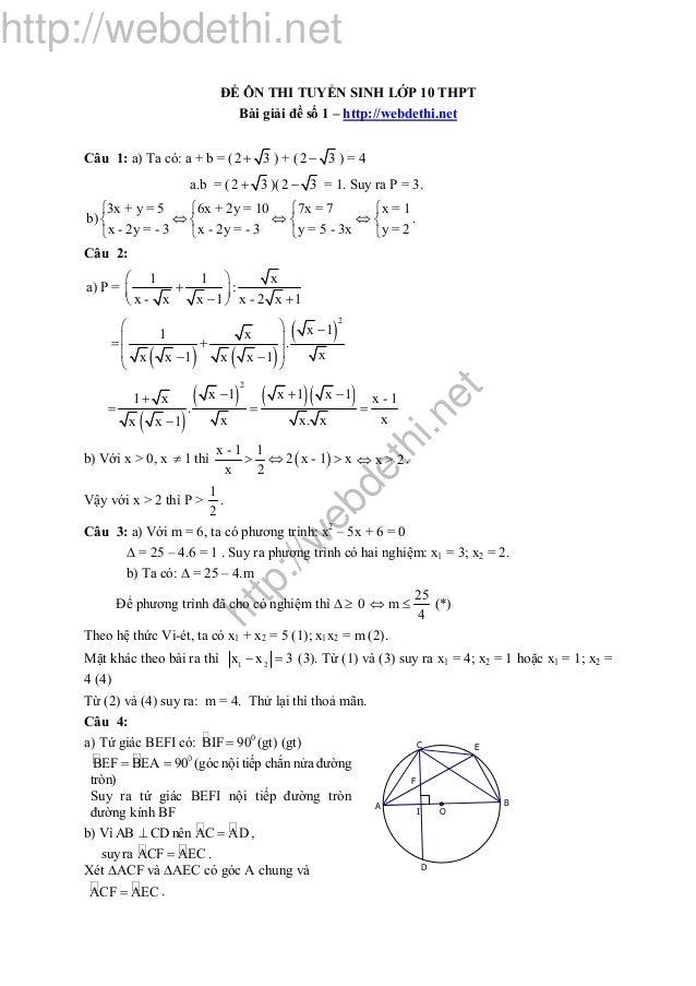 http://w ebdethi.net http://webdethi.net ĐỀ ÔN THI TUYỂN SINH LỚP 10 THPT Bài giải đề số 1 – http://webdethi.net Câu 1: a)...