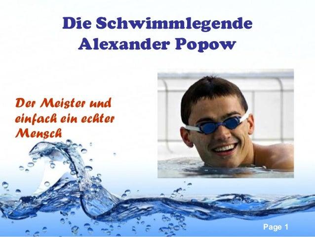 Die Schwimmlegende Alexander Popow Der Meister und einfach ein echter Mensch  Page 1