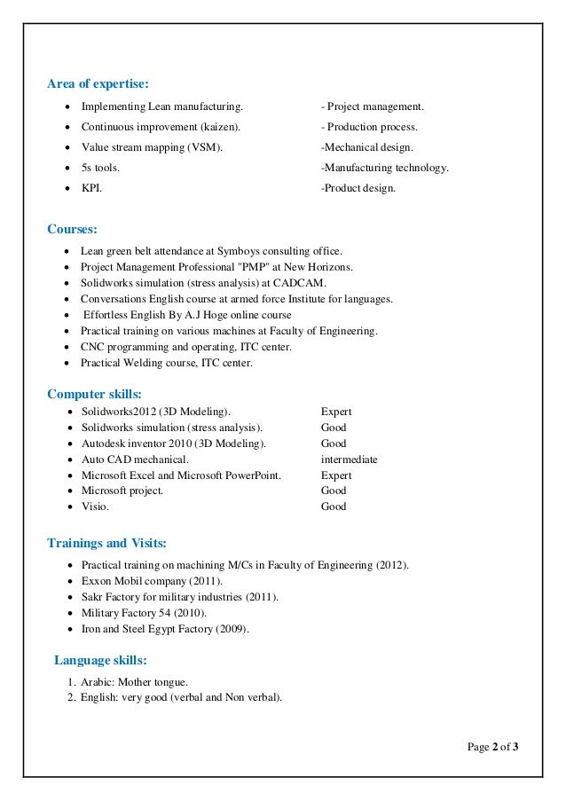 Areas of expertise for a resume