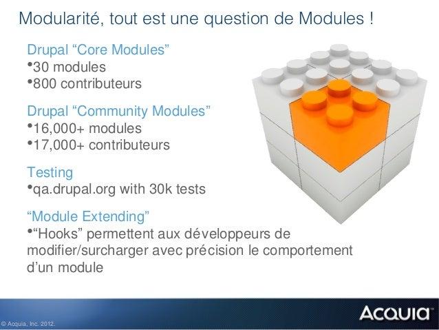 """Modularité, tout est une question de Modules !         Drupal """"Core Modules""""         •30 modules         •800 contributeur..."""