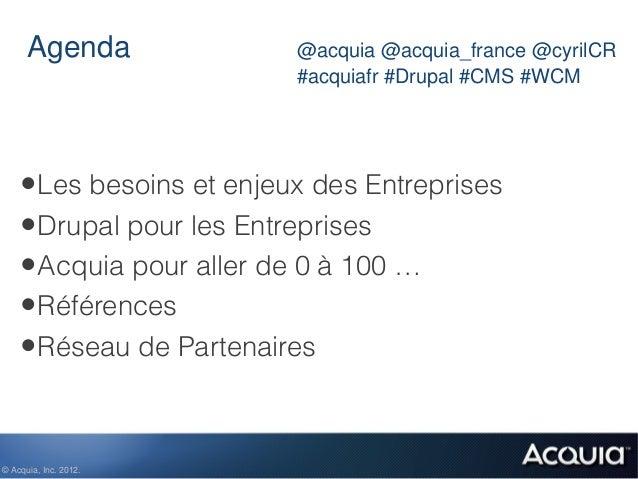 Agenda              @acquia @acquia_france @cyrilCR                          #acquiafr #Drupal #CMS #WCM    • Les besoins ...