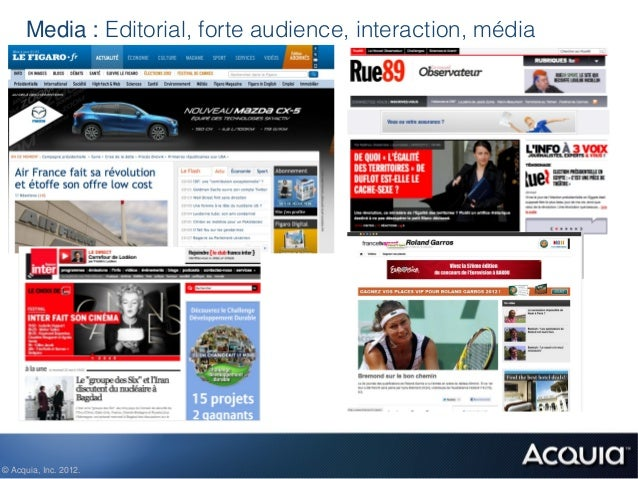Media : Editorial, forte audience, interaction, média© Acquia, Inc. 2012.