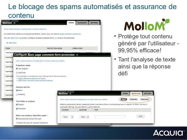 Le blocage des spams automatisés et assurance decontenu                              • Protège tout contenu               ...