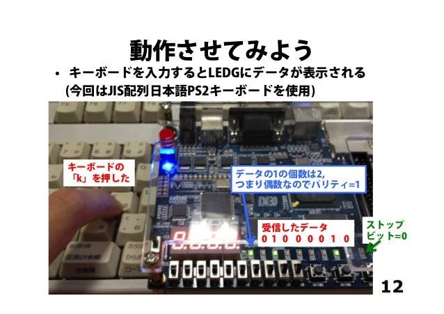 動作させてみよう • キーボードを入力するとLEDGにデータが表示される (今回はJIS配列日本語PS2キーボードを使用) 12 キーボードの 「k」を押した 受信したデータ 0 1 0 0 0 0 1 0 データの1の個数は2, つまり偶数...