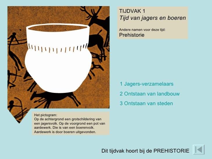 TIJDVAK 1 Tijd van jagers en boeren Andere namen voor deze tijd: Prehistorie Het pictogram: Op de achtergrond een grotschi...