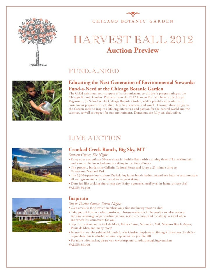 Harvest Ball 2012                                Auction PreviewFUND-A-NEEDEducating the Next Generation of Environmental ...