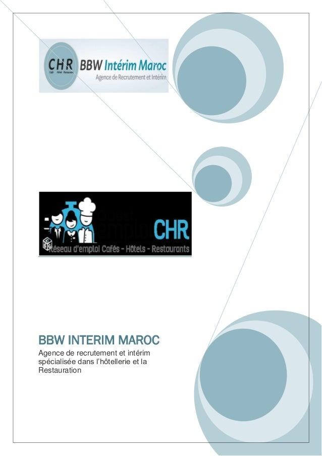 BBW INTERIM MAROC Agence de recrutement et intérim spécialisée dans l'hôtellerie et la Restauration