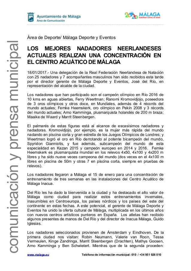 comunicaciónyprensamunicipal Área de Deporte/ Málaga Deporte y Eventos LOS MEJORES NADADORES NEERLANDESES ACTUALES REALIZA...