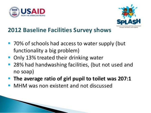 How SPLASH does MHM 1. Awareness raising and advocacy 2. Improved access to facilities and products 3. Learning, teaching ...