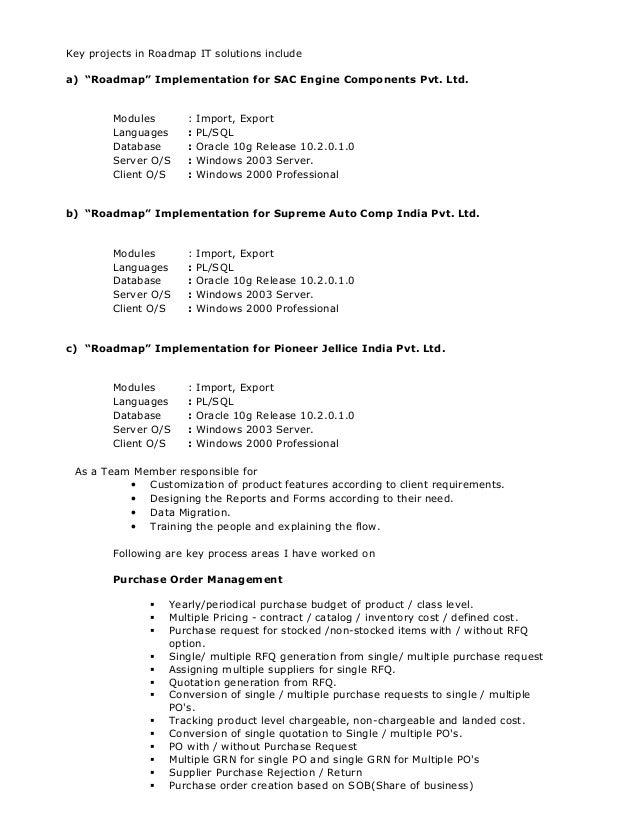 Resume for oracle developer