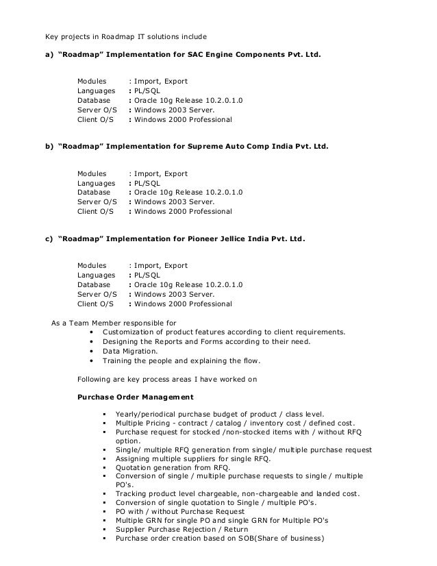 oracle pl sql developer resume