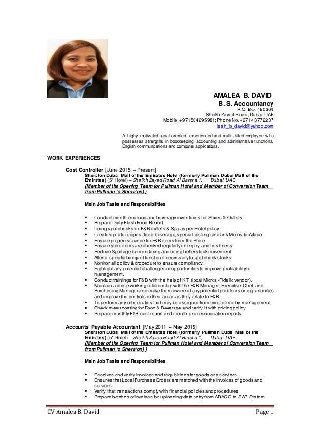 Sample Cost Controller Resume - Constes.com