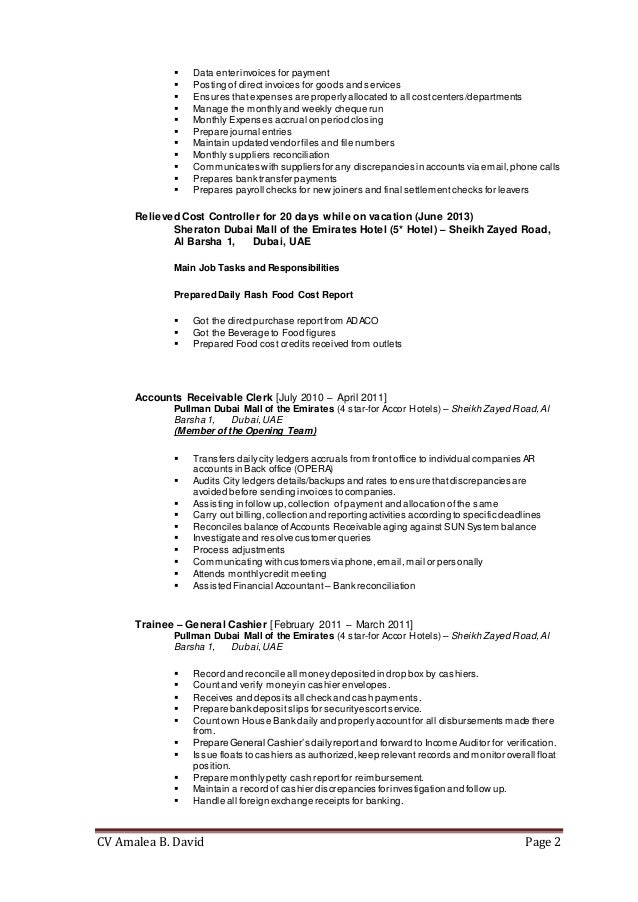 Cost Controller Resume. cost controller resumes template ...