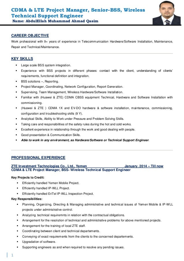 Colorful Wireless Engineering Resume Elaboration - Administrative ...