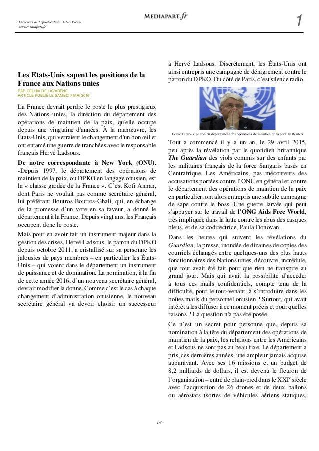 Directeur de la publication : Edwy Plenel www.mediapart.fr 1 1/3 Les Etats-Unis sapent les positions de la France aux Nati...