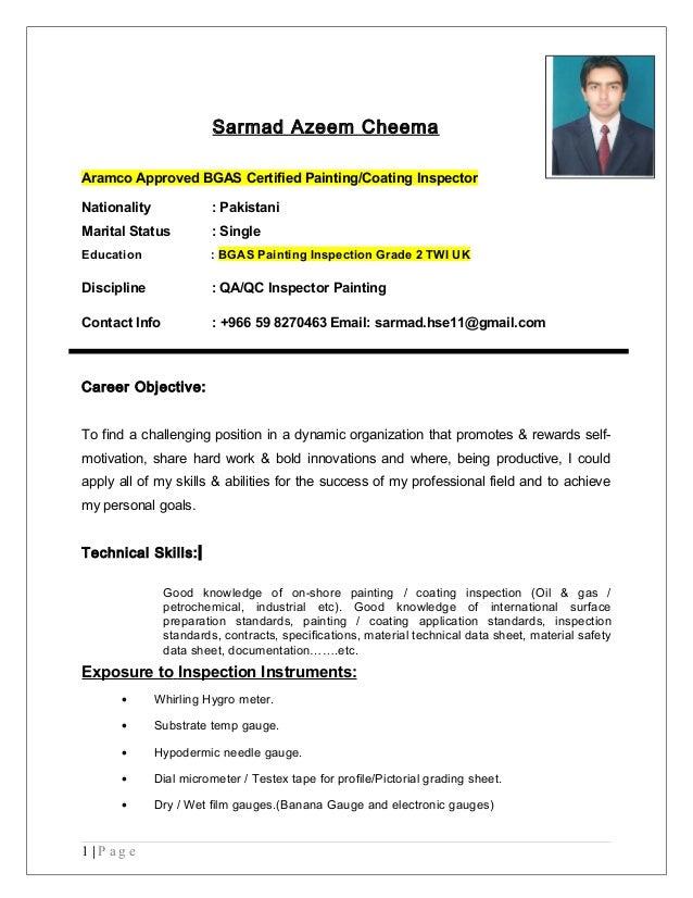 sarmad azeem cheema bgas gr 2 coating inspector 1