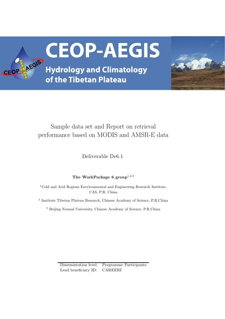 Sample data set and Report on retrievalperformance based on MODIS and AMSR-E data                            Deliverable D...