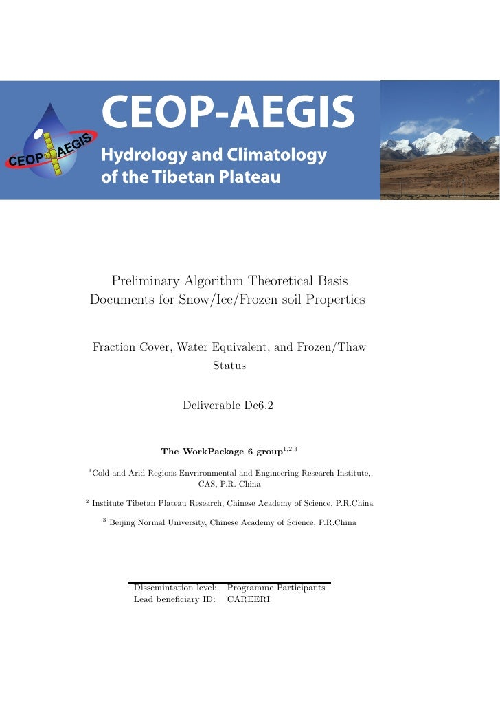 Preliminary Algorithm Theoretical Basis    Documents for Snow/Ice/Frozen soil Properties    Fraction Cover, Water Equivale...