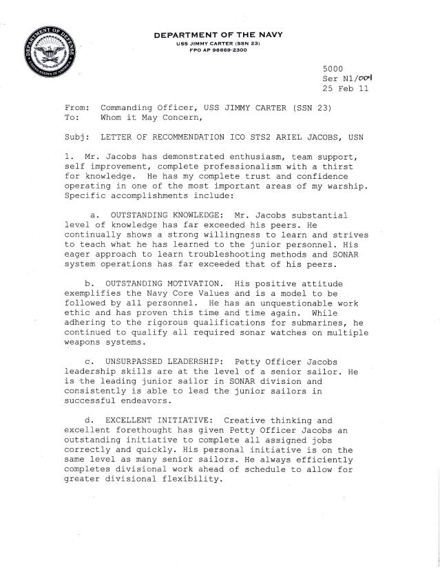 Letters Of Recommendation. DEPARTMENT OF THE NAVY Uss JIMMY CARTER Isstl  Zgi FPO AP 96669 2800 Erom: ...