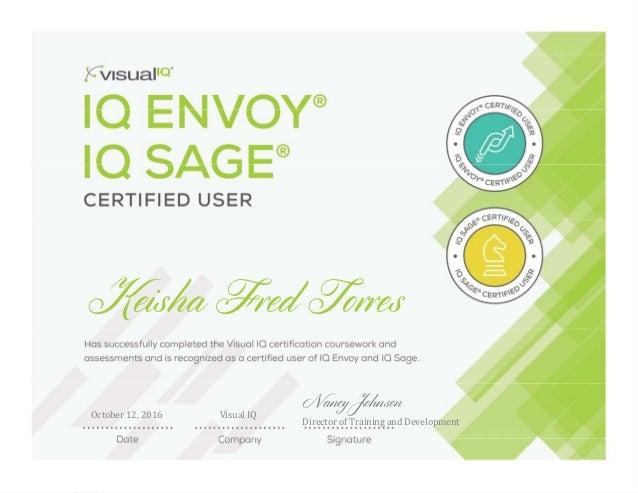 Keisha Fred Torres October12,2016 VisualIQ Nancy Johnson DirectorofTrainingandDevelopment