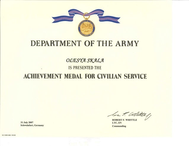Us Army Achievement Medal For Civilian Service