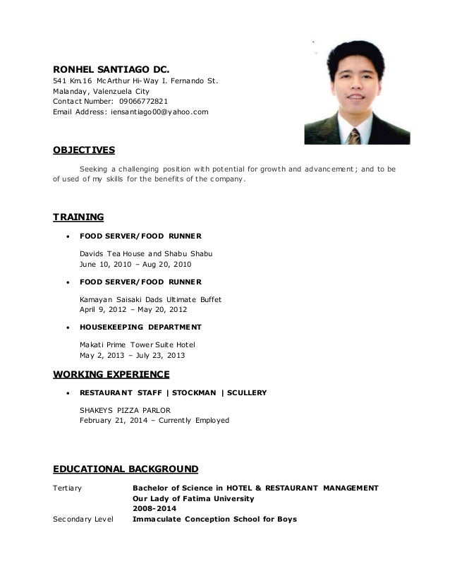 RESUME ORIGINAL COPY. RONHEL SANTIAGO DC. 541 Km.16 McArthur Hi Way I.  Fernando St ...  Resume Copy