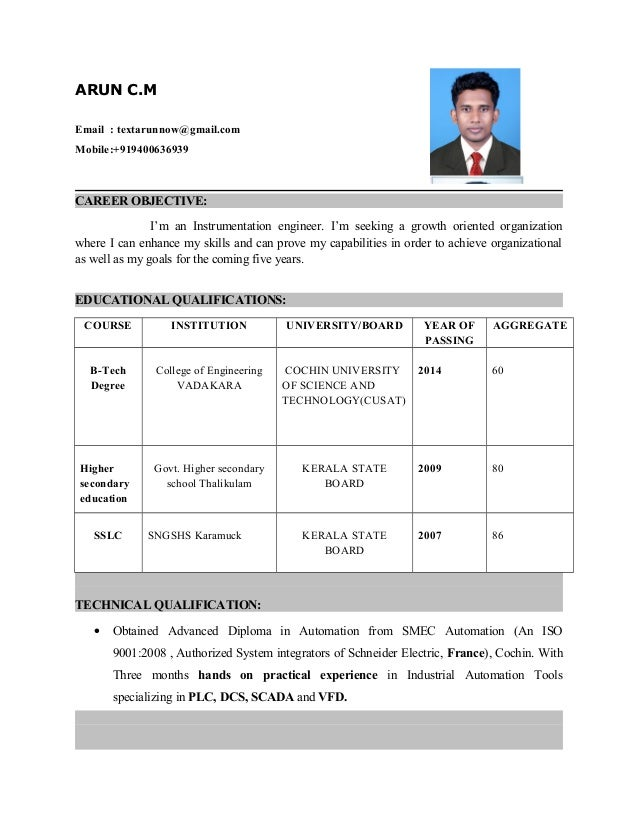 My New Resume. ARUN C.M Email : Textarunnow@gmail.com Mobile:+919400636939  CAREER OBJECTIVE: ...  My New Resume