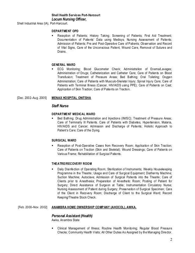 Shell Health Services Port-Harcourt Locum Nursing Officer, Shell Industrial Area (IA), Port-Harcourt. DEPARTMENT OPD  Rec...