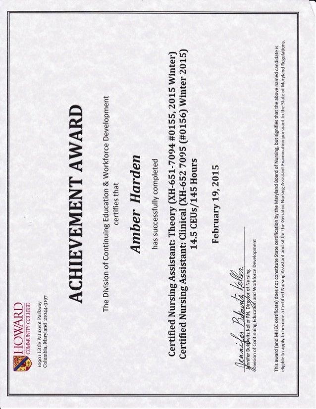 Ambers Cna Certificate