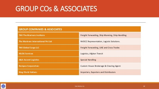 GROUP COs & ASSOCIATES GROUP COMPANIES & ASSOCIATES TMI The Mariners Institute Freight Forwarding, Ship Manning, Ship Hand...
