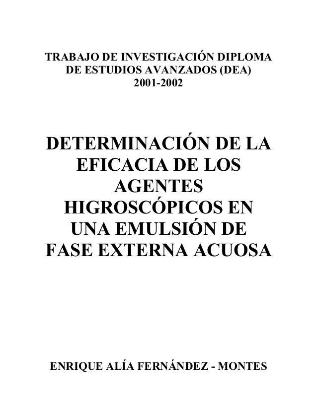 TRABAJO DE INVESTIGACIÓN DIPLOMA   DE ESTUDIOS AVANZADOS (DEA)             2001-2002DETERMINACIÓN DE LA   EFICACIA DE LOS ...