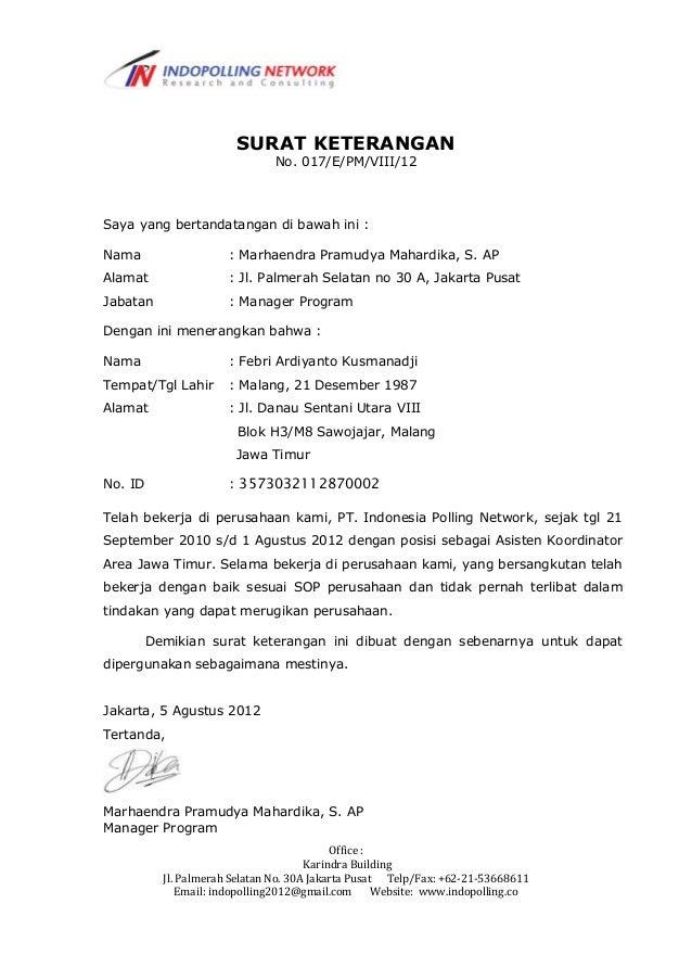Surat Keterangan Kerja Febri