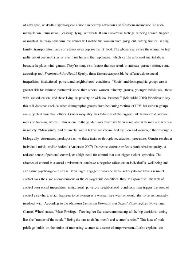 Domestic Violence Essay   Of