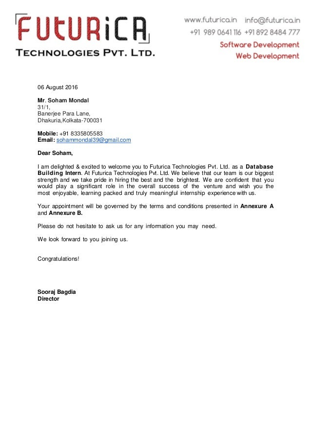 Soham MondalIntern Offer Letter