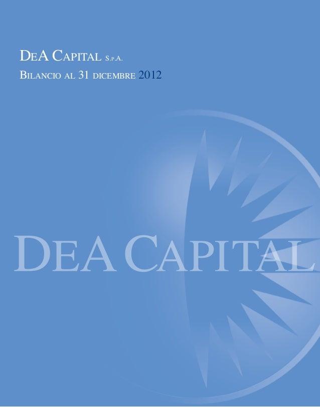 DeA Capital S.p.A. Bilancio al 31 dicembre 2012
