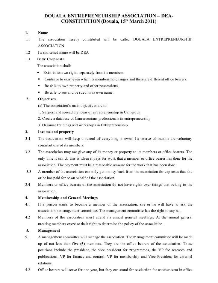 DOUALA ENTREPRENEURSHIP ASSOCIATION – DEA-               CONSTITUTION (Douala, 15th March 2011)1.    Name1.1   The associa...