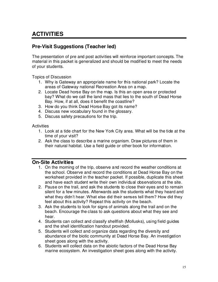 Dead Horse Bay Teacher Packet 2007