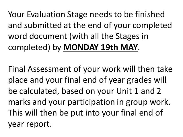 Your Evaluation Stage needs to be finished and submitted at the end of your completed word document (with all the Stages i...
