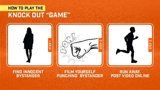"""how to play the knock out """"game"""" find innocent bystander film yourself punching bystander step1 step2 step3 run away. post..."""