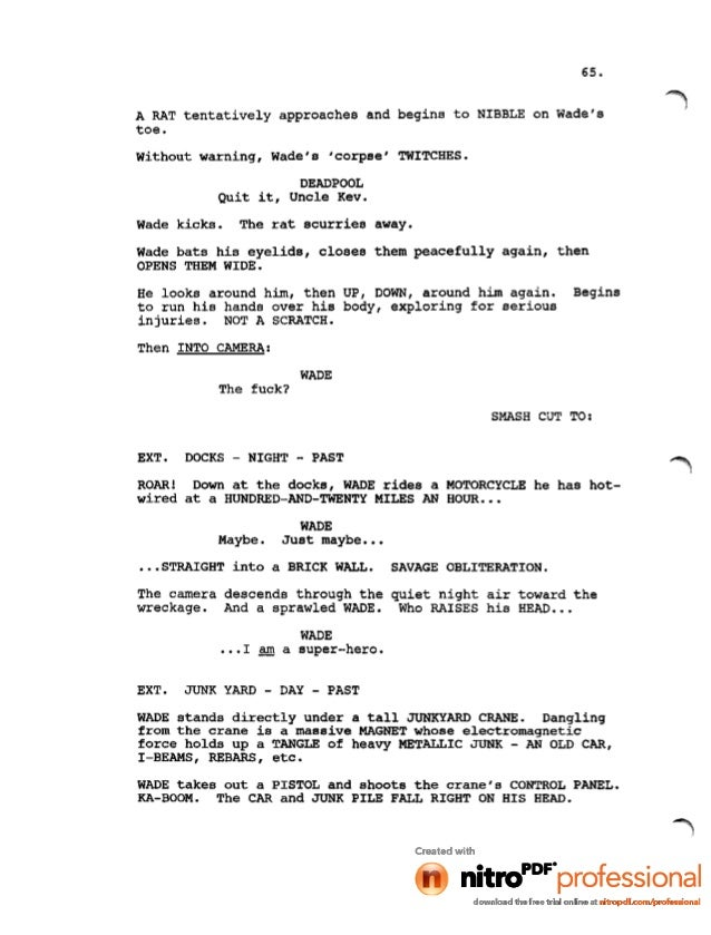 Deadpool Movie Leaked Script 1