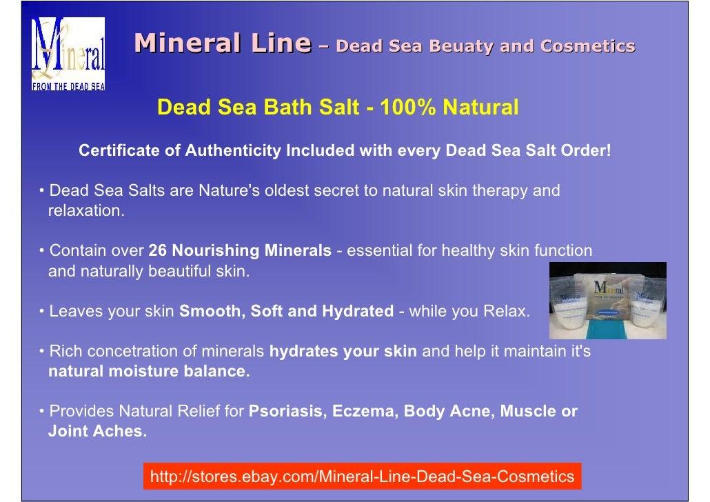 Mineral Line – Dead Sea Beuaty and Cosmetics                  Dead Sea Bath Salt - 100% Natural      Certificate of Authen...