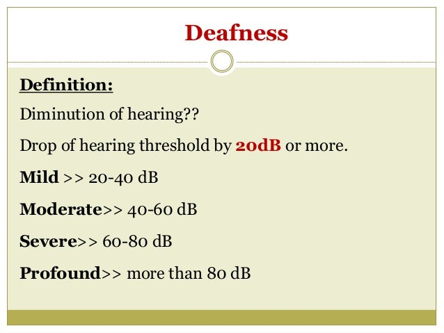 ... 2. Deafness Definition: Diminution ...