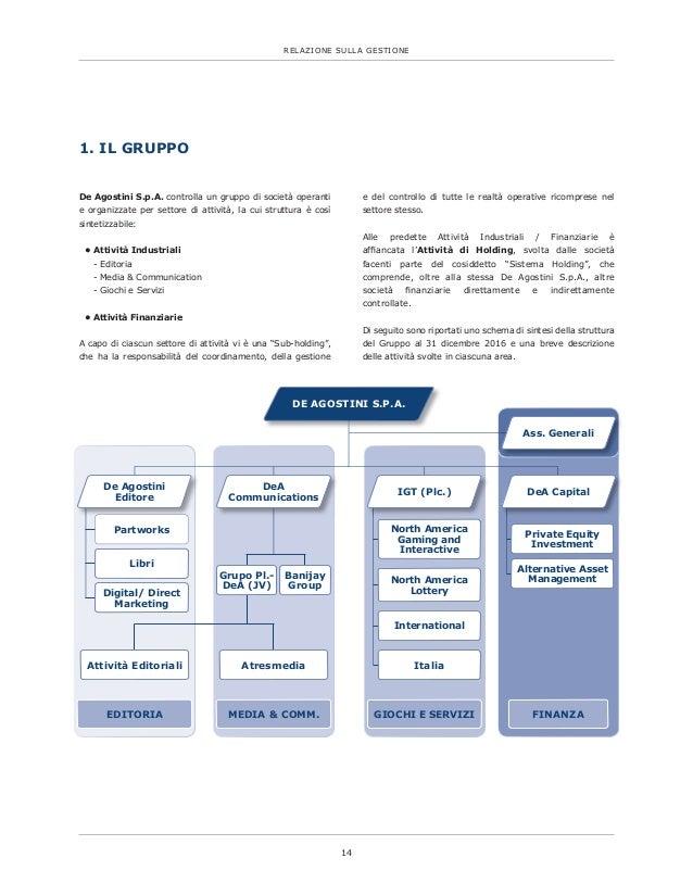 14 RELAZIONE SULLA GESTIONE De Agostini S.p.A. controlla un gruppo di società operanti e organizzate per settore di attivi...